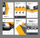 Modern Brochure design template. Vector set. 6 Annual report layout with photo place. illustration vector in A4 size Stock Photos