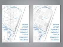 Modern brochure with floral design, flyer with grey dotted and squared background. Layout template. Aspect Ratio for A4 size.  Royalty Free Stock Image