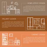 Modern brochure flyer design template with line interior icons. Home office, hallway, cabinet vector illustrations Royalty Free Stock Images