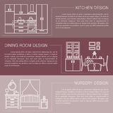 Modern brochure flyer design template with line interior icons. Kitchen, dining room, nursery vector illustrations. Business magazine, poster, banner, website Stock Photos