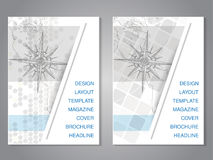 Modern brochure with hand draw map and compass design, flyer with grey dotted background. Layout template.  Royalty Free Stock Image