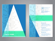 Modern brochure with triangle design, abstract flyer with grey dotted background. Layout template. Aspect Ratio for A4 size. Poste Royalty Free Stock Image