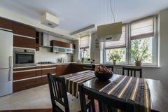 Modern bronze kitchen interior Stock Photos