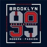 Modern brooklyn typografidesign för t-skjorta stock illustrationer