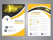 Modern broschyr för vektor med vågdesign, abstrakt reklamblad med teknologibakgrund Orienteringsmall Affisch av svart, guling och stock illustrationer