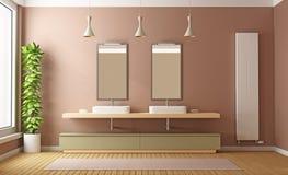 Modern brown bathroom Royalty Free Stock Image
