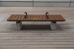 Modern Brown bench on Wooden floor , outdoor Stock Image