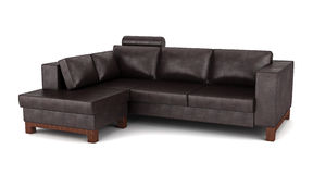 Modern brown leather couch isolated on white. Background Stock Images