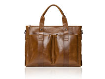 Modern brown leather men casual or business briefcase. Royalty Free Stock Photo