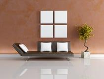 Modern brown living-room Stock Photos