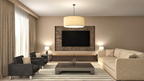 Modern brown living room interior design. 3d illustration Royalty Free Stock Photography