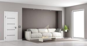 Modern brown living room Stock Photos