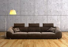 A modern brown sofa and  lamp Stock Photo