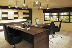 Modern brown style office with furniture and street view Stock Photo