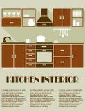 Modern bruin keuken binnenlands ontwerp Stock Afbeeldingen