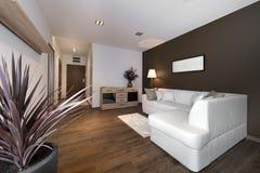 Modern brun vardagsrum för inredesign Royaltyfri Fotografi
