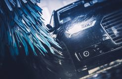 Modern Brush Car Wash. Blue Color Graded Concept royalty free stock image