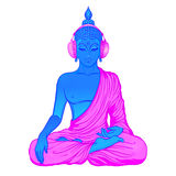 Modern Buddha listening to the music in headphones in neon color. S isolated on white. Vector illustration. Vintage psychedelic composition. Indian, Buddhism Stock Photos