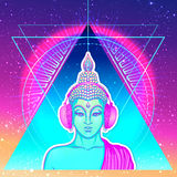 Modern Buddha listening to the music in headphones in neon color. S isolated on white. Vector illustration. Vintage psychedelic composition. Indian, Buddhism Stock Photo
