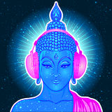 Modern Buddha listening to the music in headphones in neon color. S isolated on white. Vector illustration. Vintage psychedelic composition. Indian, Buddhism Royalty Free Stock Images