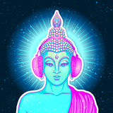 Modern Buddha listening to the music in headphones in neon color. S isolated on white. Vector illustration. Vintage psychedelic composition. Indian, Buddhism stock illustration