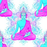 Modern Buddha listening to the music in headphones in neon color Stock Photography