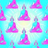 Modern Buddha listening to the music in headphones in neon color Stock Images