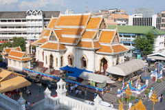 Modern buddhist temple, high angle view. Wat Traimit Temple Thanon Mittaphap Thai-China. Chinatown District in Bangkok, Thailand Royalty Free Stock Photography