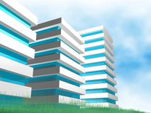 Modern building. Clear nature and modern building Royalty Free Stock Photo