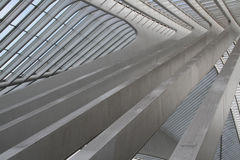 Modern Building. An abstract closeup of the white concrete lines of a train station roof royalty free stock images