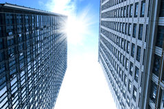Modern building. Ray in two modern building Royalty Free Stock Photography