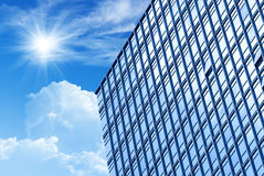 Modern building. Ray on modern building glass wall Stock Photo