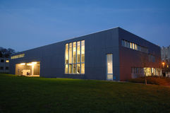 Modern building. Modern grey building by night Stock Photo