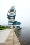 Modern building. The modern sail-shaped tower building in Water Sports Park, Rizhao, Shandong, China Royalty Free Stock Image