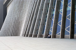 Modern building. It is a girl and the modern buiilding. the building is shenzhen library Royalty Free Stock Photography