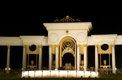Modern building. New modern square in almaty, kazakhstan, at night Stock Images