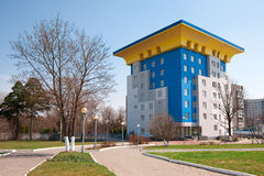 Modern building. Modern architecture building in spring park. Russia. Odintsovo's municipal park royalty free stock photos