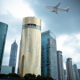 Modern building with airplane Royalty Free Stock Photography