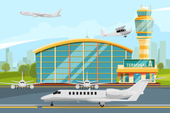 Modern building of airport terminal with control tower. Runway with planes Stock Photo