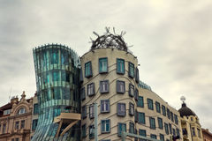 Modern building, also known as the Dancing House, Prague, Czech. PRAGUE - APRIL 14: Modern building, also known as the Dancing House, designed by Vlado Milunic Stock Photography