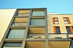 Modern building. Modern apartment building in sunny day against blue sky stock photo