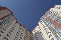 Modern building apartments - flats - balcony - windows - blue sky Royalty Free Stock Photos