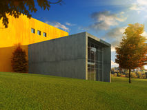 Modern building autumn. 3D scene of modern minimalistic building in a beautiful autumn meadow Stock Image