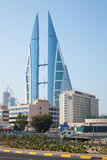Modern building of Bahrain World Trade Center, Manama Royalty Free Stock Image