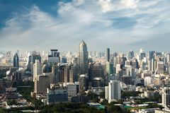 Modern building in Bangkok business district at Bangkok city with skyline, Thailand.  stock photos