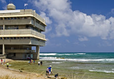 Modern building on beach of Haifa bay, Israel Royalty Free Stock Photography