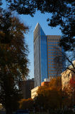 Modern Building border trees with fall colors Royalty Free Stock Photo