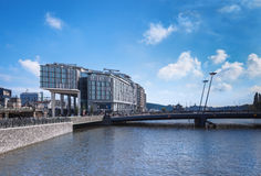 Modern building and bridge in Amsterdam Royalty Free Stock Photography