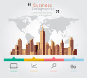 Modern building with business infographic Royalty Free Stock Photography