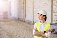 Modern building business and a worker Royalty Free Stock Images